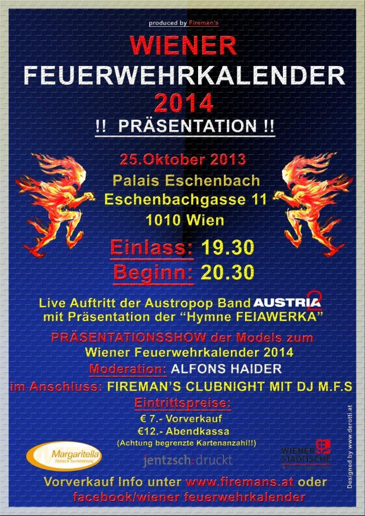 Plakat Präsentation Wiener Feuerwehr Kalender 2014