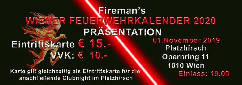 Ticketverkauf Feuerwehr-Kalender Wien 2020 Präsentationsshow